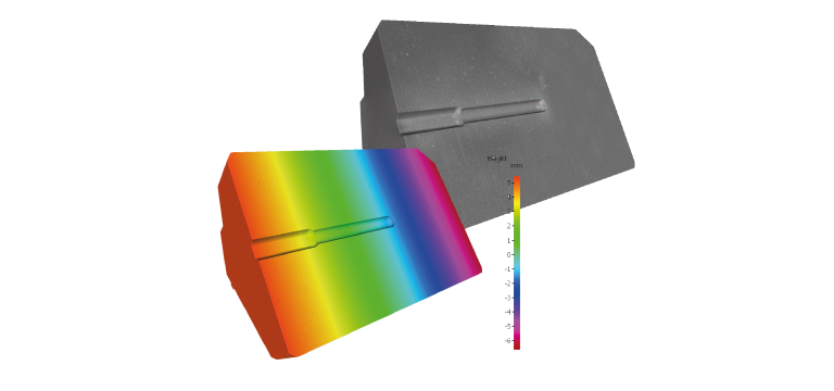 Alicona optical 3D measurement of a die in true and false color visualization